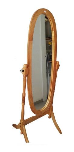 espejo de pie oval marco de madera dormitorio - garageimpo