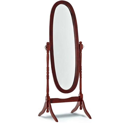 espejo oval de pie con marco de madera colores en oferta loi