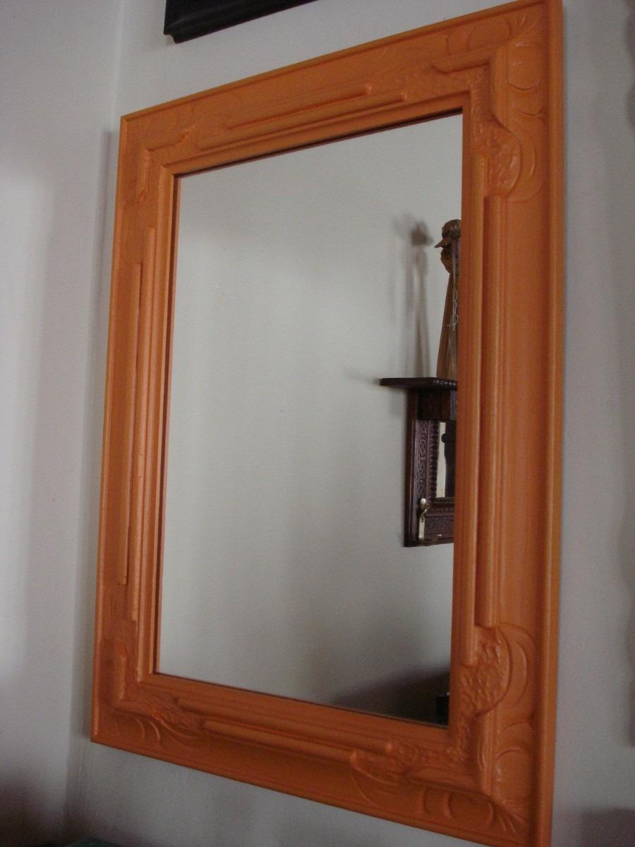 Espejo Patinado En Naranja, Marco De Madera Tallada - $ 1.500,00 en ...