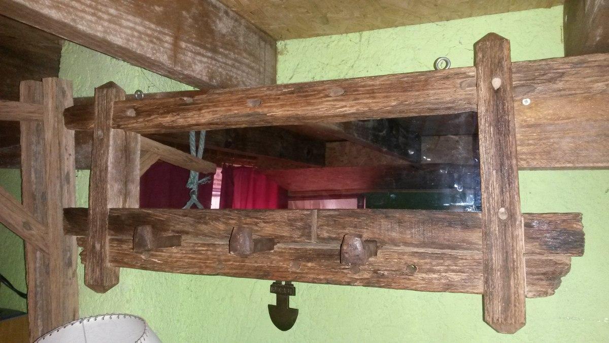 Espejo perchero r stico madera de pique en - Percheros de madera rusticos ...