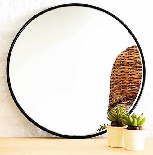 espejo redondo circular de pared con hierro 50 cm. de diam.