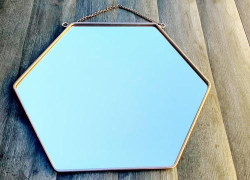 espejo redondo circular  hexagonal hierro 60cm diametro