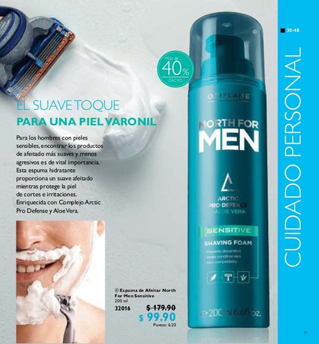 espuma de afeitar piel sensible north for men de oriflame