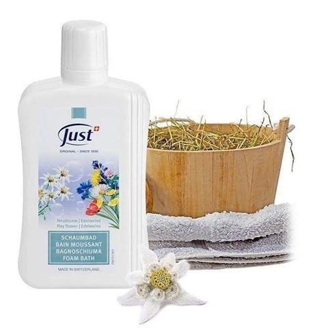 espuma de baño  flores de heno de montaña edelweis just -