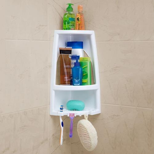 esquinero c/2 estantes organizador para baño blanco rimax
