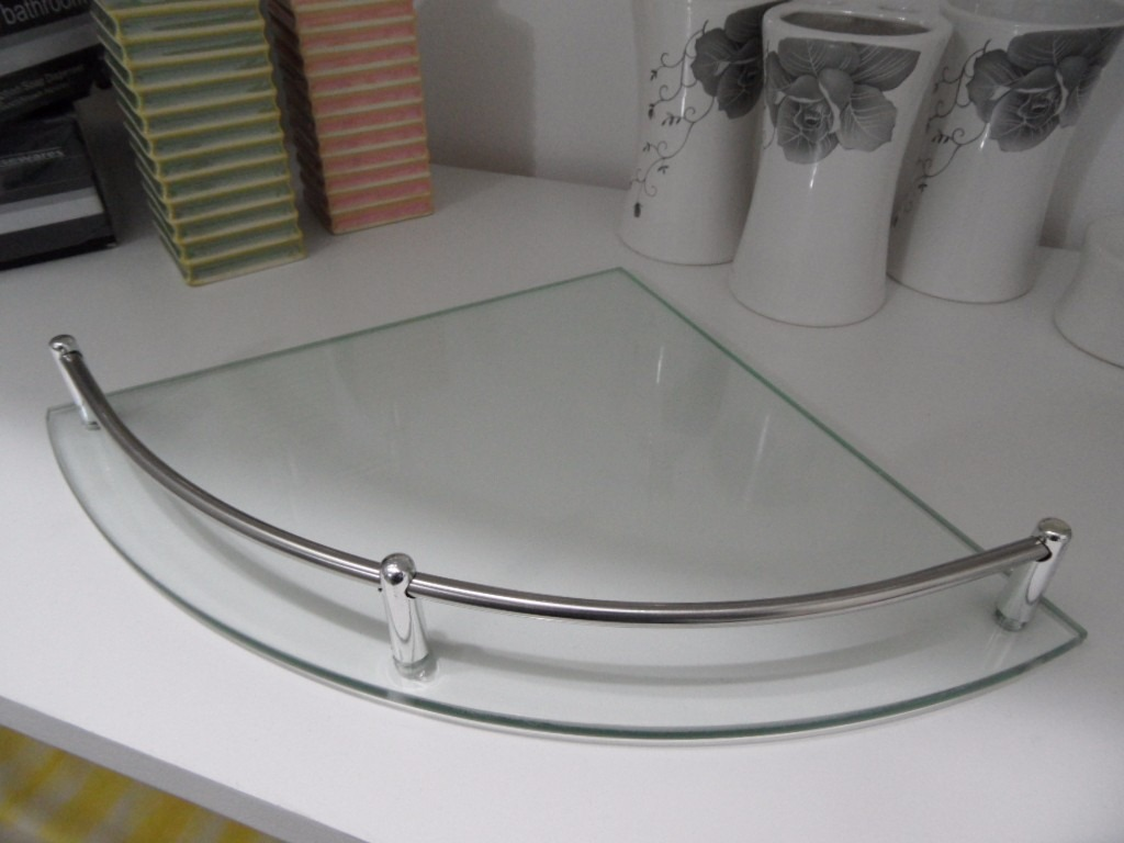 esquinero repisa de vidrio baranda en metal - accesorio baño. Cargando zoom. 44ab60319b0d