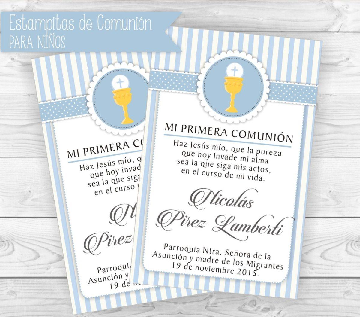 a49b25032b0d6 Estampitas Comunión Tarjetas Invitación Souvenir Niño Varón -   16 ...