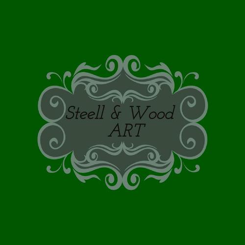 estantería esquinero en  madera y hierro,