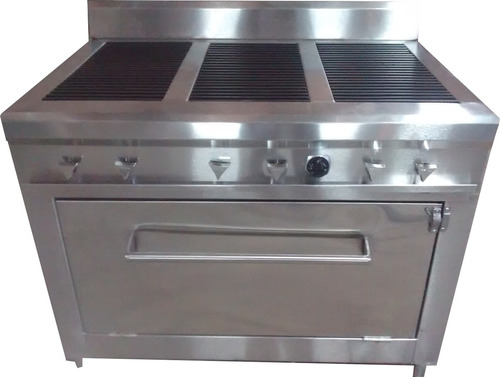 estufa industrial 6 quemadores y horno en acero