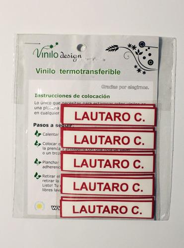 etiquetas de vinilo para uniformes escolares y ropa / vd