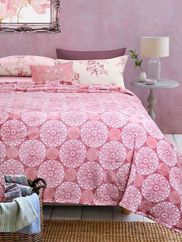 excelente frazada mandala rosa 1 1/2 pl flannel fleece suave