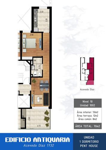 exclusivo penthouse! 1dorm., terraza 12m2 con parrillero!