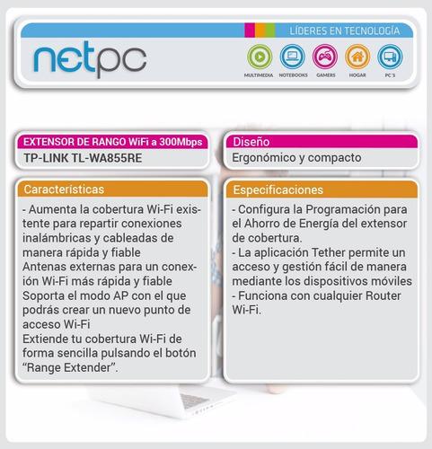 extensor de rango wifi tp-link tl-wa855re - netpc