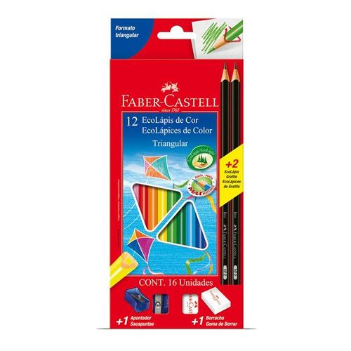 faber-castell 12 lápices de colores + 2 lápices + sacap