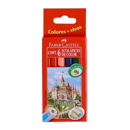 faber-castell lápices de colores cortos - 6 unidades - mosca