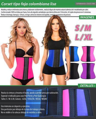 faja colombiana corset reductora cintura modela bajovestido