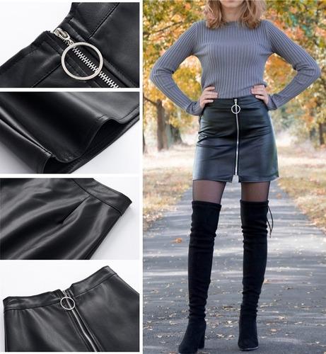 falda pollera negra de cuero pu   por encargue  