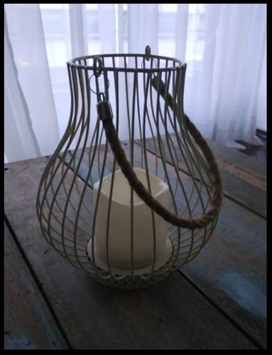 farol lámpara c/vela led para decoración o eventos, a pila.