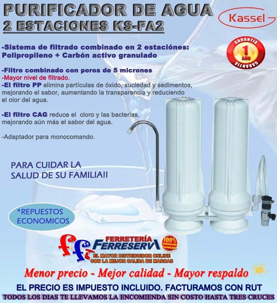 Ff Filtro Purificador De Agua Doble Carbon Kassel + Repuesto ... 121b6b1443a