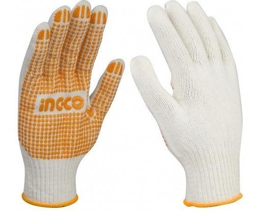 ff guantes de trabajo ingco algodon pvc xl hgvk05