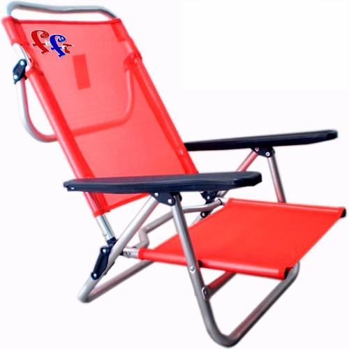 ff silla playa reposera aluminio 5 posiciones baja verano