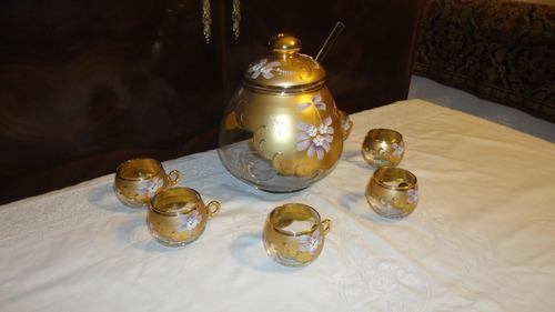 fino juego cristal veneciano coctel antiguo esmaltado vealo