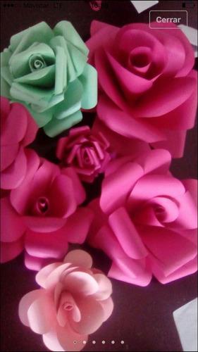 flores de papel x 5 unidades