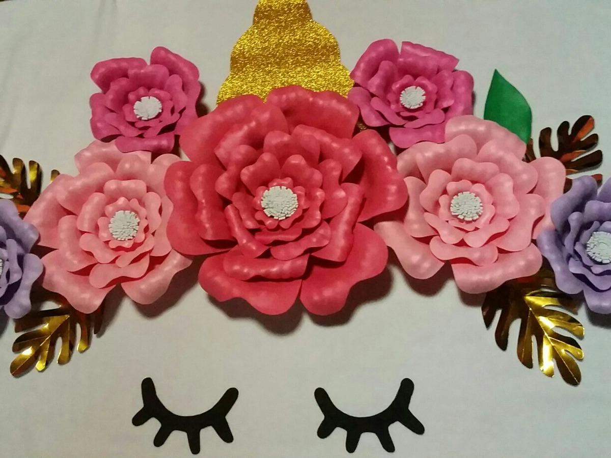 Flores Unicornio De Papel O Goma Eva Para Cumpleanos 850 00 En
