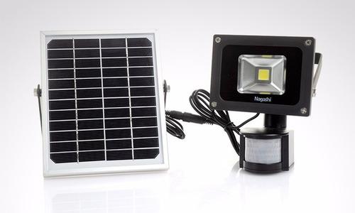 foco led 10 w a energía solar panel acumulador + sensor