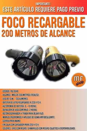 foco recargable mano 220 v y 12 v alcance 200 mts camping mf