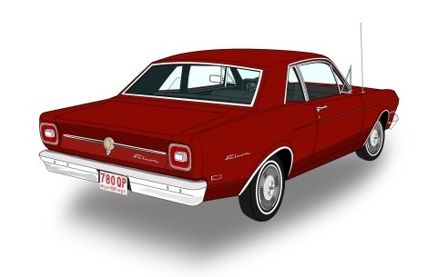 Ford Falcon Digital Autos Clasicos Lamina 45x30 Cm 380 00