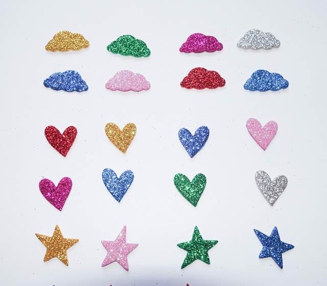 Forma Goma Eva Corazones Estrellas Nubes Brillantina Glitter 4