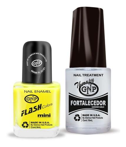 fortalecedor de ajo y esmalte gnp 9ml amarillo fluo