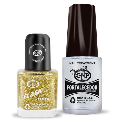 fortalecedor de ajo y esmalte gnp 9ml glitter oro