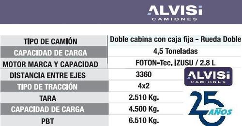 foton camión doble cabina furgón carga 4.5 toneladas + iva