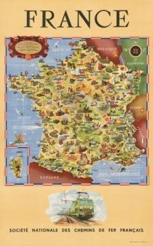 Mapa Turistico De Francia.Francia Mapa Turistico Ilustrado Tren Lamina 45x30 Cm