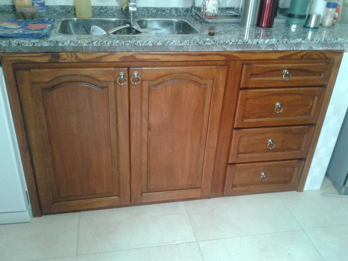 Frente de mueble de cocina en madera maciza rustico 18 - Muebles de cocina madera ...