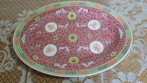 fuente oval de porcelana canton, impecable estado
