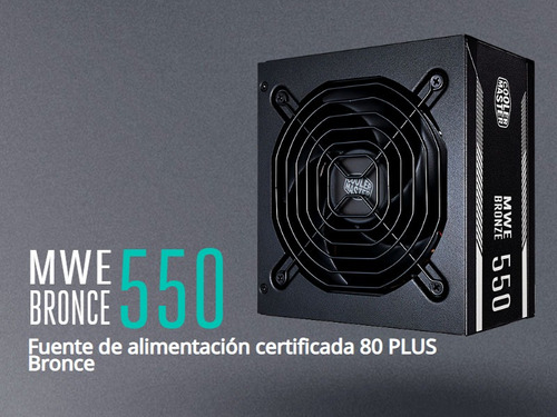 fuente pc cooler master 550w reales mwe 80+ oferta especial