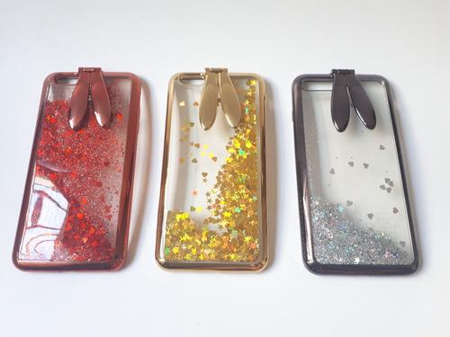 funda case con glitter iphone 6, 7, 8 - modelo orejitas