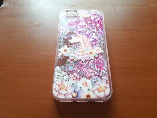 funda case con glitter iphone 6 plus - unicornio rosa