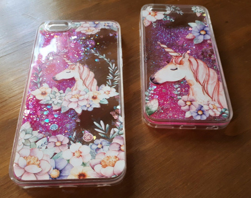 funda case con glitter iphone 6 plus - unicornio rosa