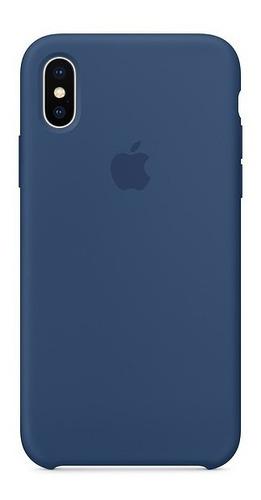 funda silicone case para el iphone x - azul cobalto