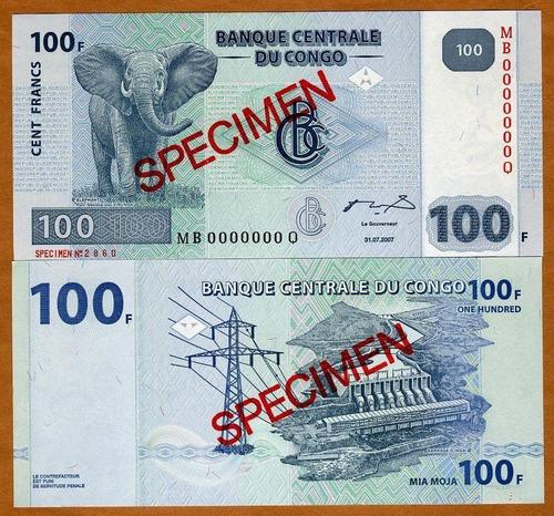 fv * billete - congo 2007 - 100 francos especimen unc