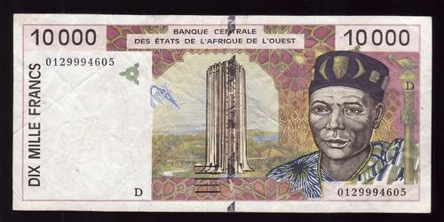 fv * billete - mali n/d 10.000 francos - letra d