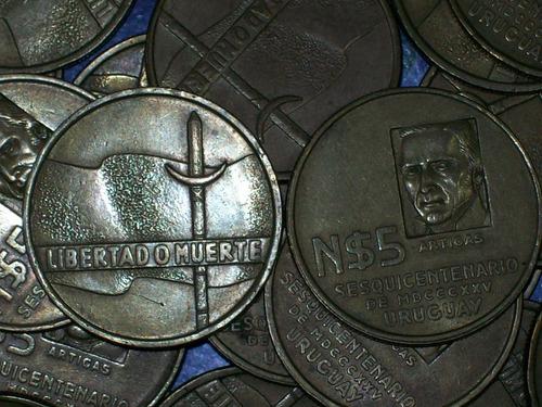 fv * uruguay 1975 - nuevos pesos 5 lote de 10 monedas 250$