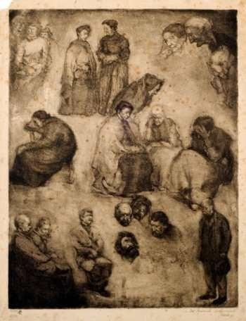 g. facio hebequer - estudio de figuras - lámina 45x30 cm.