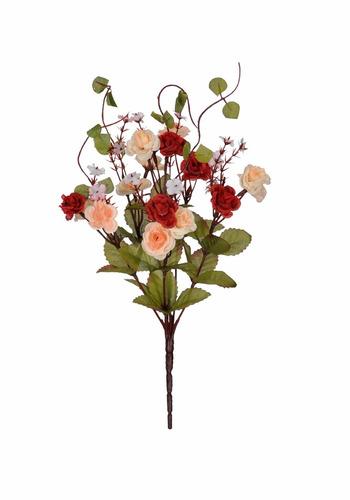 galho mini rosas vermelha e salmon artificial  - decoração