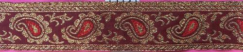 galon bulgaro con lurex de 3cm x 25m, color bordo