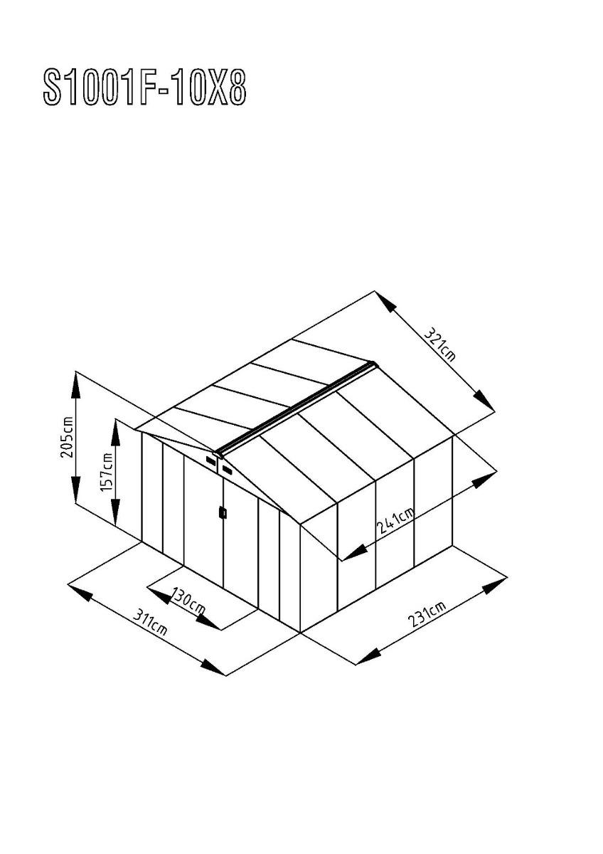 galpon de jardin, galpon prefabricado con techo a dos aguas